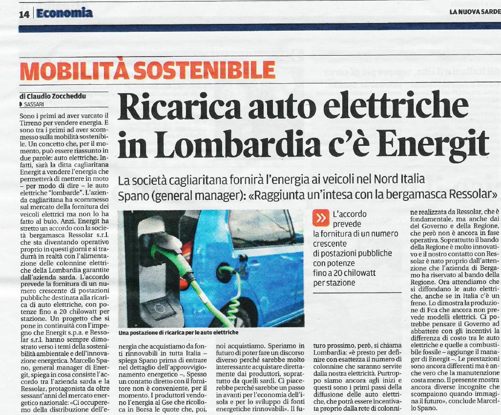 """Anche """"La nuova Sardegna"""" parla dell'accordo tra Ressolar ed Energit"""